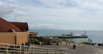 The conference centre in Bournemouth with the sea and pier in the background