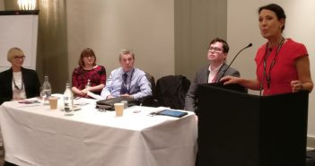 Mark Serwotka and two other panellists listen to Debbie Abrahams speaking
