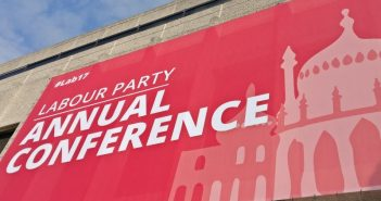 A huge poster for the Labour conference outside the conference centre