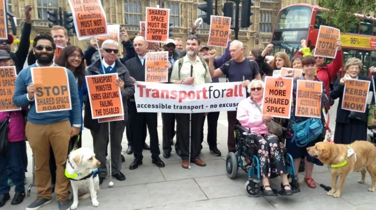 Protesters demand end to shared space 'no go zones'