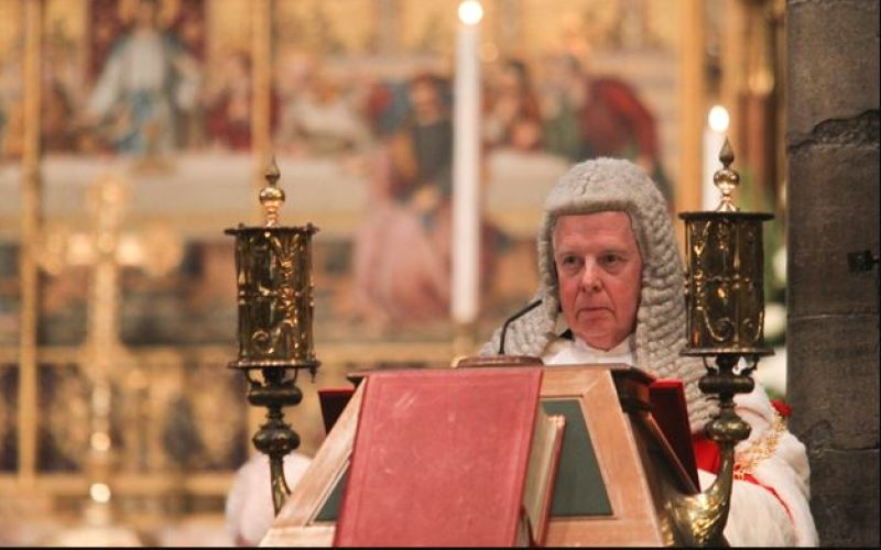 Lord Thomas speaking from an ornate pulpit