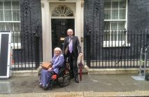 Fiona Jarvis pictured outside No 10 in her wheelchair, next to a ramp and a man