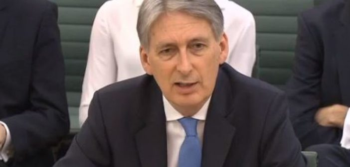 Philip Hammond giving evidence to a Commons committee