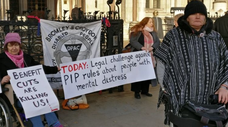 Vigil as court hears that PIP rules are 'unfair and discriminatory'