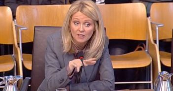 Esther McVey giving evidence to the social security committee