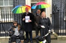 Lisney, Buxton, Hart and Brothers (and her guide dog) outside 10 Downing Street
