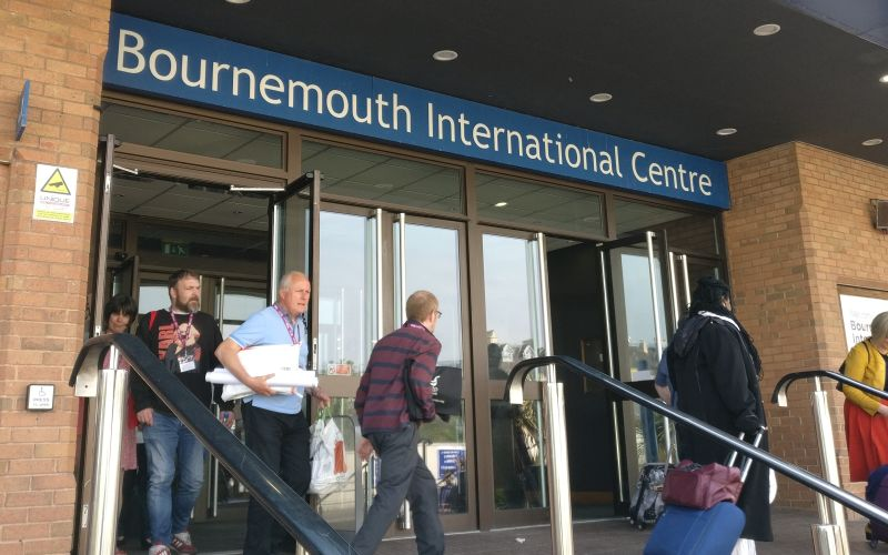 People coming out of the Bournemouth International Centre
