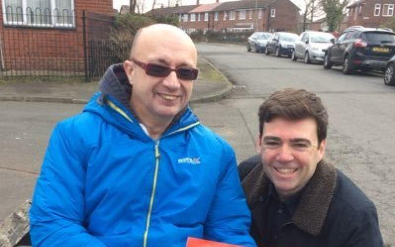 Jon Fletcher with Labour politician Andy Burnham