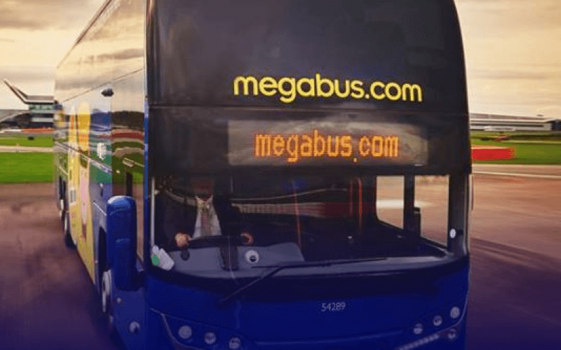 a Megabus coach from the front