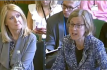 Sarah Newton giving evidence to the committee as Esther McVey watches on beside her