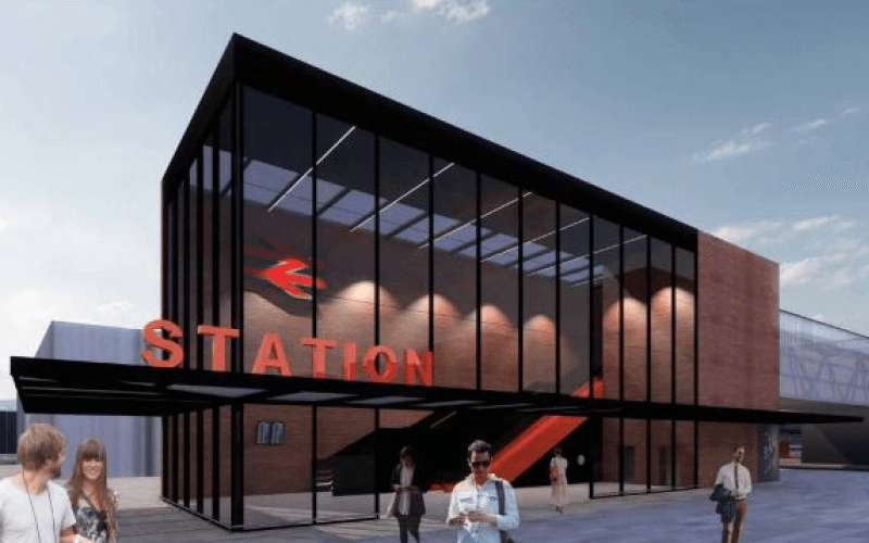 An artist's impression of the new rail station
