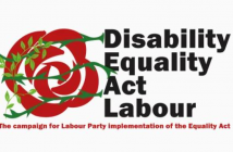 Disability Equality Act Labour logo including a red rose with greenery intertwining