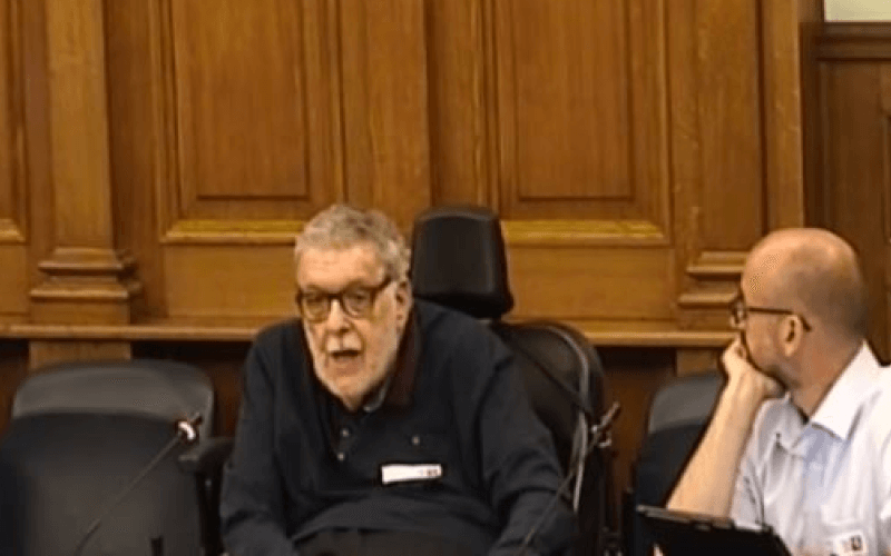 Mike Oliver giving evidence to the council