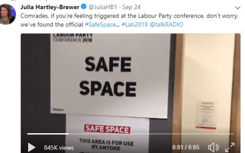 A tweet by Julia Hartley-Brewer which includes a sign saying 'safe space'