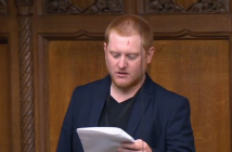 Jared O'Mara reading from a piece of paper in the Commons chamber