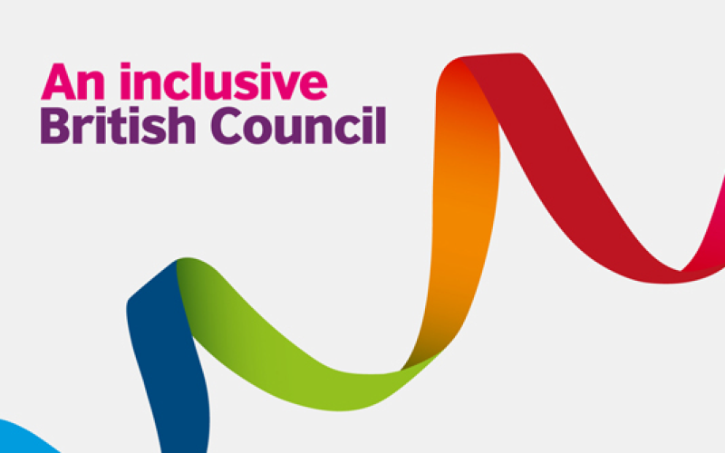 A multi-coloured ribbon logo, titled An Inclusive British Council