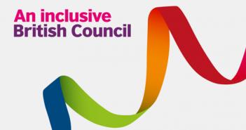 A multi-coloured ribbon logo, titled An Inclusive British Council