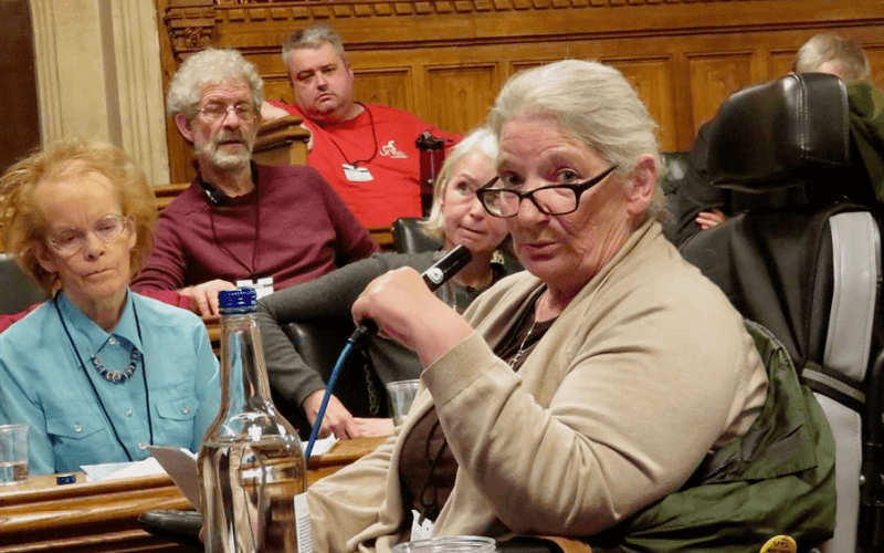 Miriam Binder speaking to the meeting