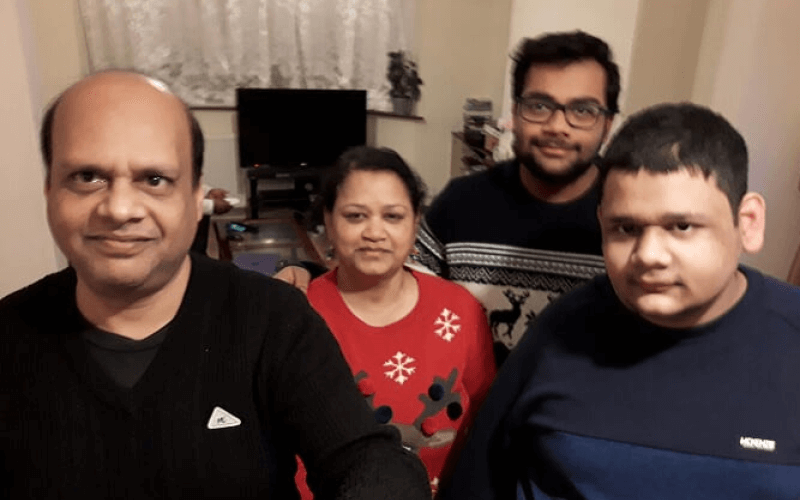Gopul Anand with his mum, dad and brother