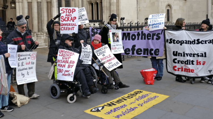 Universal credit protest as high court hears 'discrimination' case