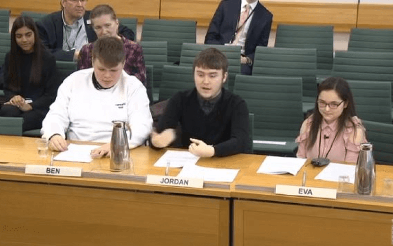 Ben, Jordan and Eva giving evidence