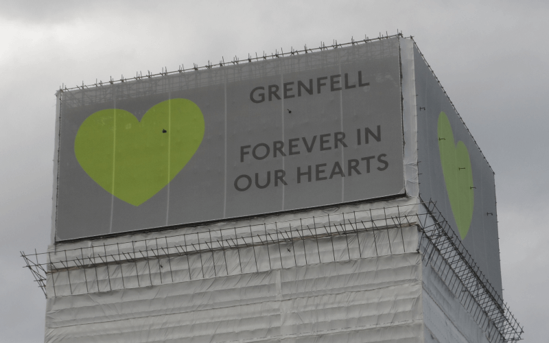 Banner saying Grenfell Forever in our Hearts