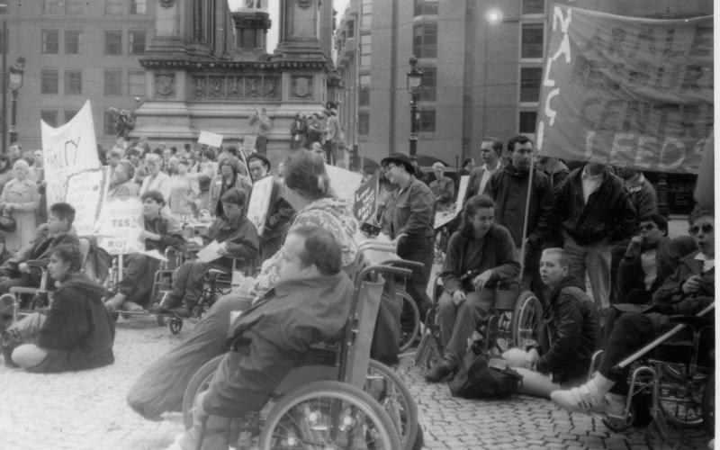 Protesters in Albert Square in 1991