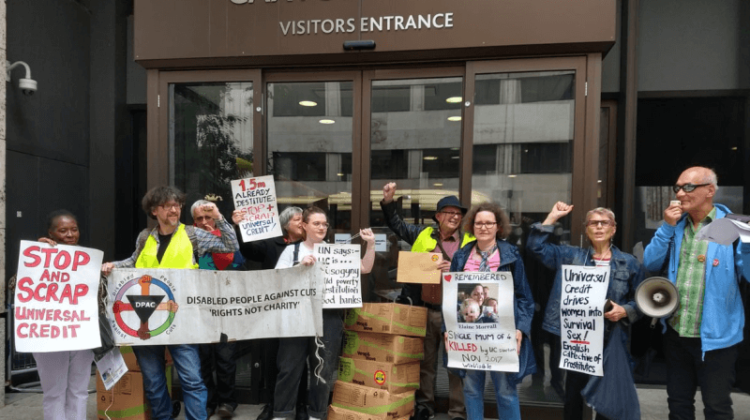 Guards lock activists inside DWP HQ during universal credit 'whitewash' action