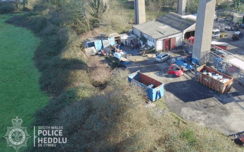 The scrapyard from the air
