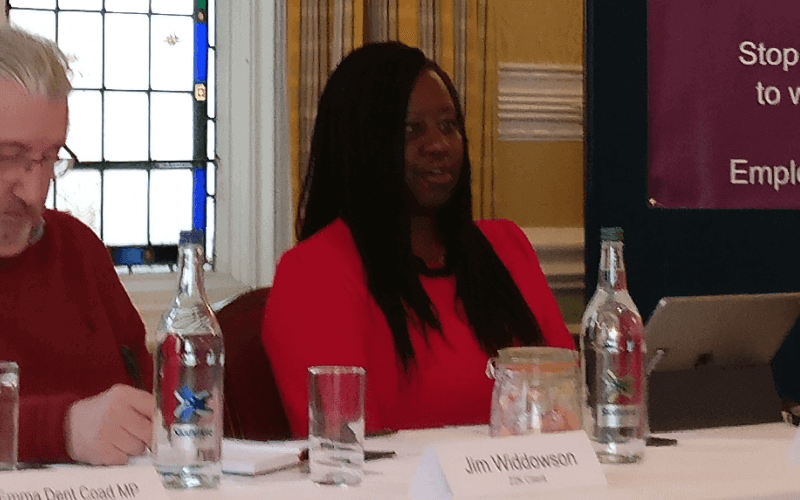 Marsha de Cordova speaking from behind a table