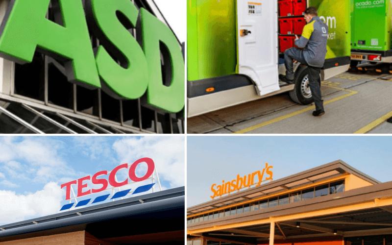Logos of Asda Ocado Tesco and Sainsbury's