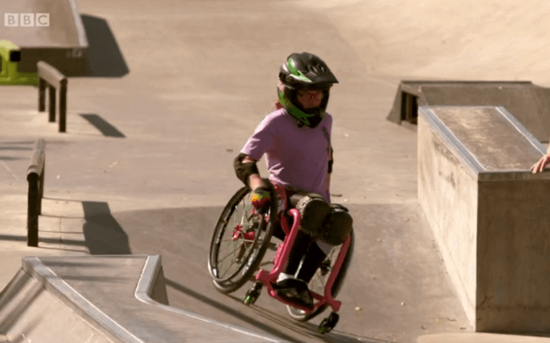 Lily Rice attempting a ramp in her wheelchair
