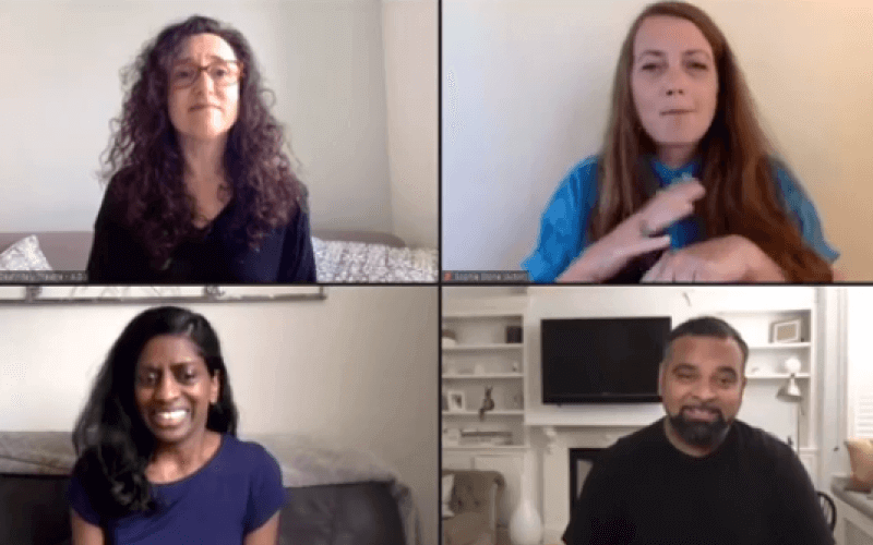 Three women and a man on a Zoom call