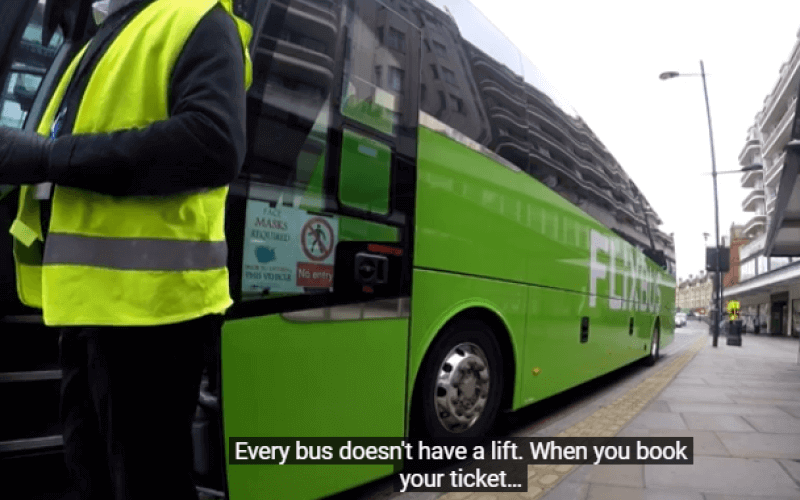 A green coach and its driver, with the words: 'Every bus doesn't have a lift. When you book your ticket'