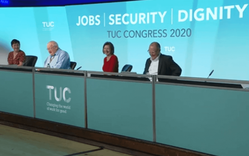 Two women and two men on a TUC speaker's panel