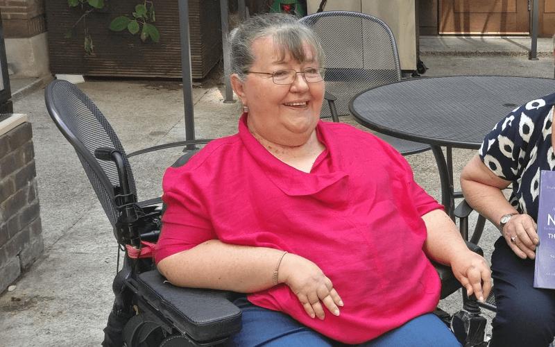 Sian Vasey sitting in her wheelchair