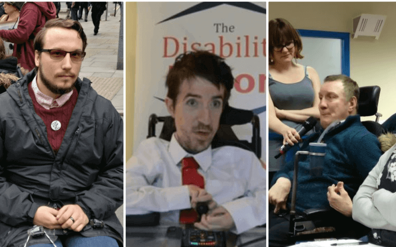 Three wheelchair-users in separate pictures