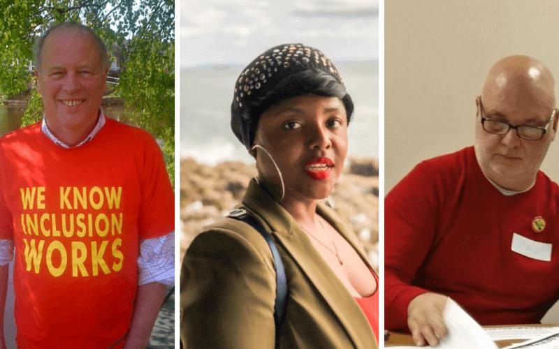 Separate head and shoulders pictures of Joe Whittaker, Jumoke Abdullahi and Mark Harrison