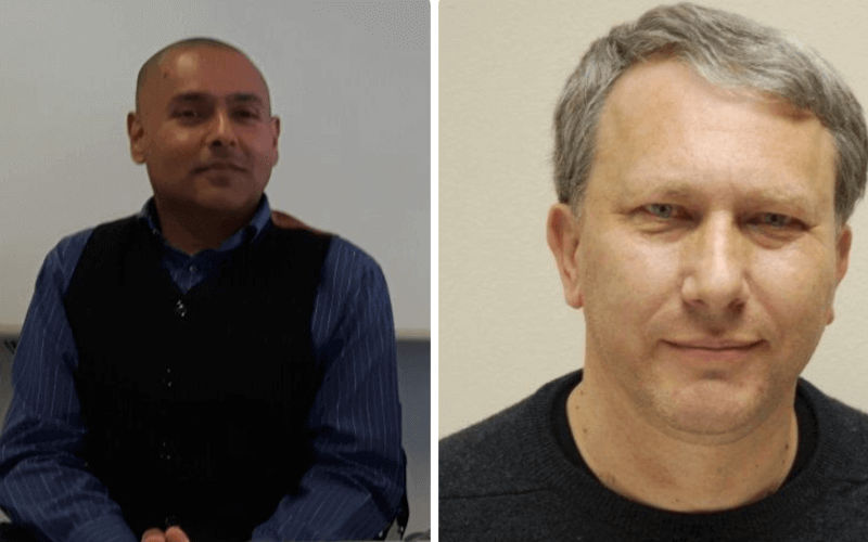 Separate head and shoulders pictures of Kamran Mallick and Peter Beresford
