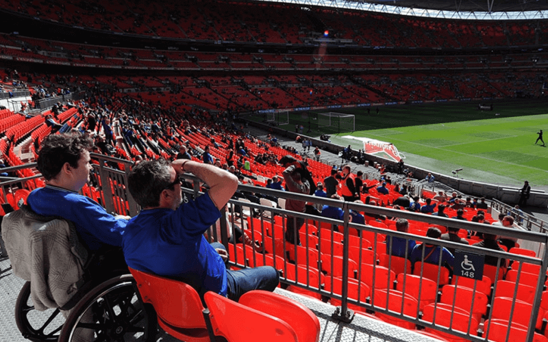 A wheelchair-user among the crowd at Wembley Stadium