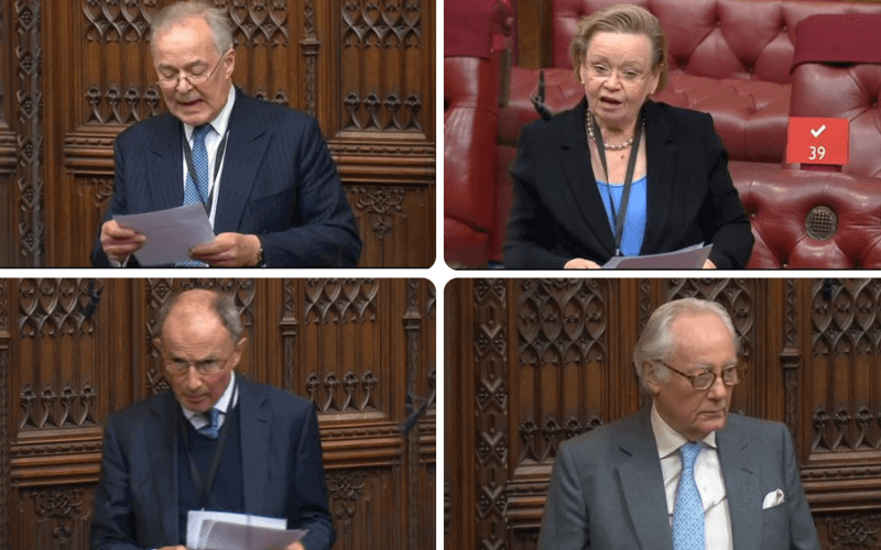 Lord Farmer, Lord Howard, Viscount Trenchard and Baroness Noakes speaking in the Lords