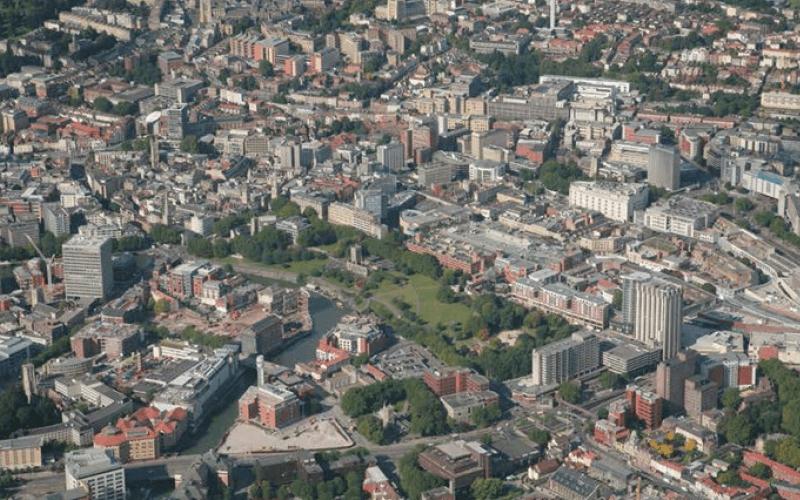 Overhead shot of Bristol city centre