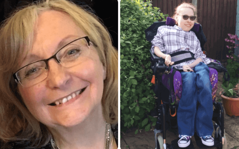 Pam Thomas head and shoulders and separate picture of Fleur Perry in her wheelchair