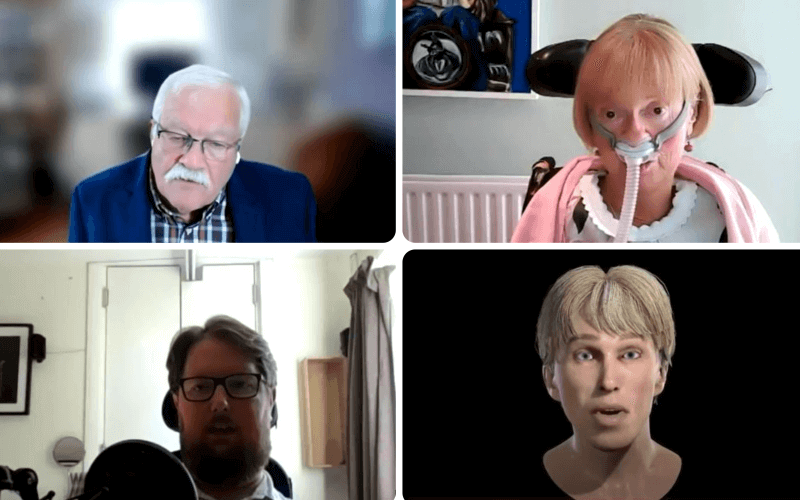 Separate head and shoulders of Phil Friend, Baroness Campbell, Miro Griffiths and Peter Scott-Morgan's avatar