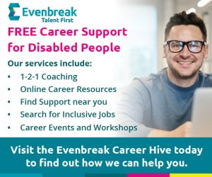 Image shows a man wearing glasses sitting by an open laptop The text reads: Free Career Support for Disabled People Our services include: 1-2-1 Coaching Online Career Resources Find Support near you Search for Inclusive Jobs Career Events and Workshops Visit the Evenbreak Career Hive today to find out how we can help you