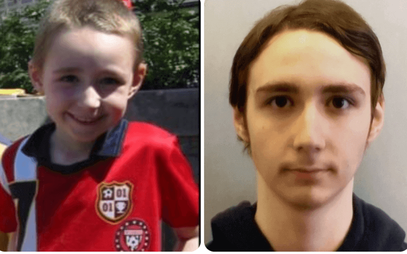 Two head and shoulders pictures of Ker Featherstone, one as a boy and one as a young man