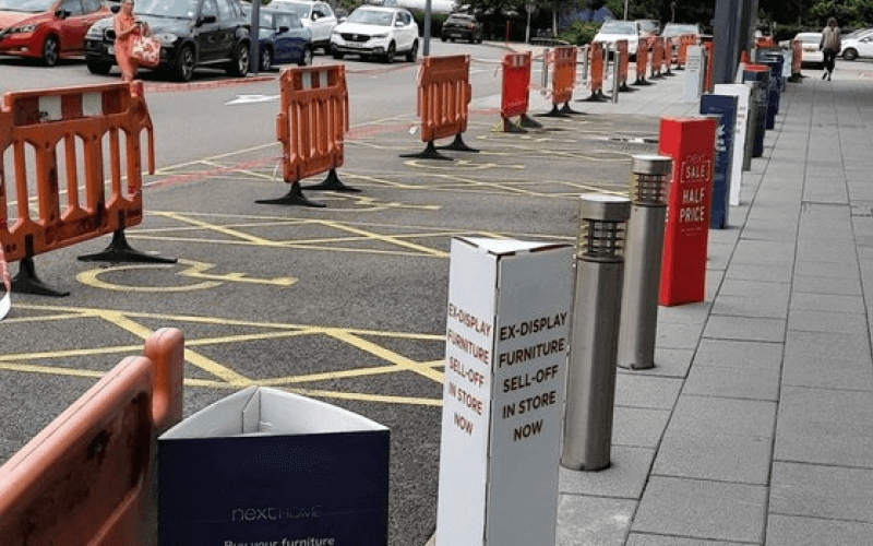 accessible parking bays cordoned off in a car-park