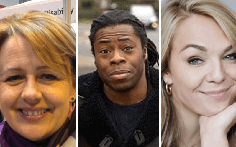 Head and shoulders of Baroness Grey-Thompson, Ade Adepitan and Sophie Morgan