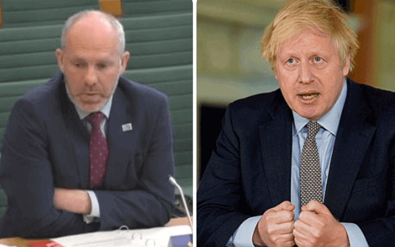 Separate head and shoulders pictures of Justin Tomlinson and Boris Johnson