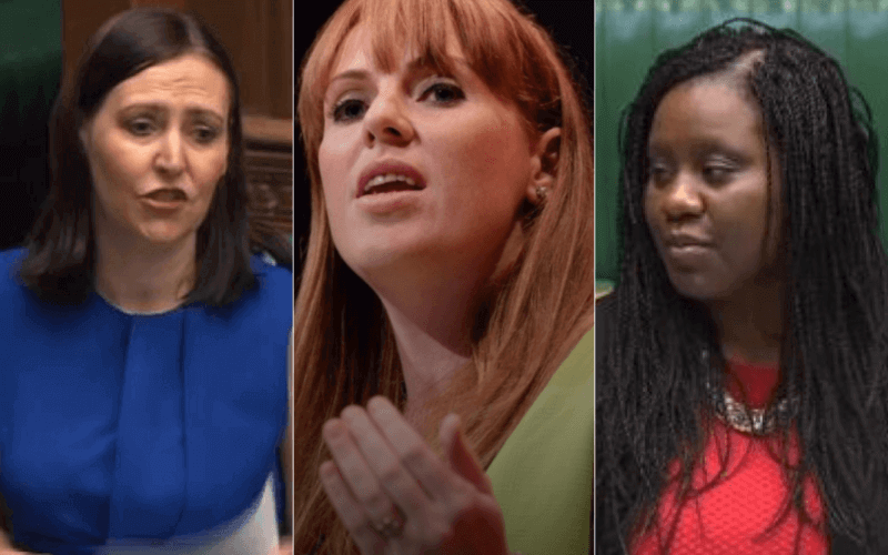 Separate head and shoulders pictures of Vicky Foxcroft, Angela Rayner and Marsha de Cordova
